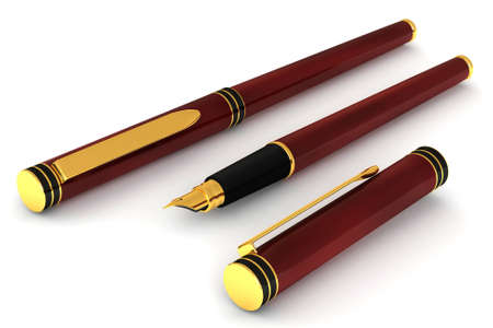 Close up of a red fountain pen isolated over a white background. This is a 3D rendered picture. photo