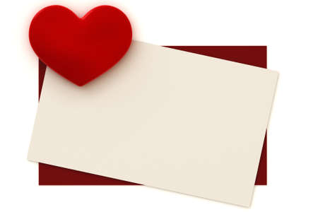 Blank valentine card with copy-space to write your own text. This is a 3D rendered picture. photo