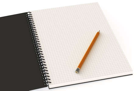 Blank notebook and pencil with copy-space. This is a 3D rendered picture. photo