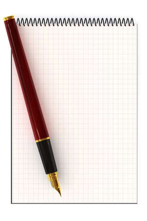 Blank notepad and fountain pen with copy-space. This is a 3D rendered picture. photo