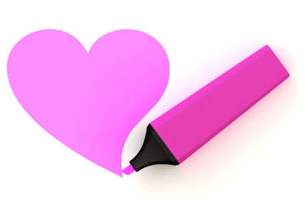 Highlighter pen with color symbol isolated over a white background. This is a 3D rendered picture. photo