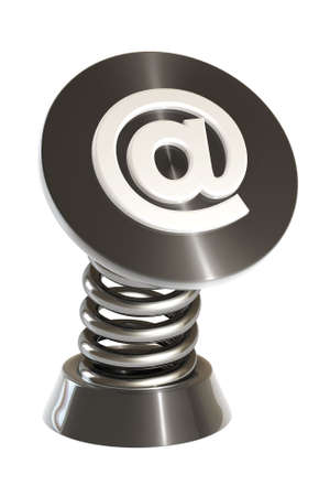 email symbol on a spring gadget isolated over a white background. This is a 3D rendered picture. photo