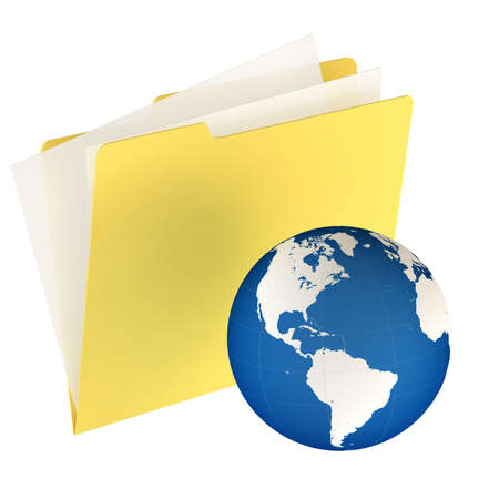 Folder icon isolated over a white background. This is a 3D rendered picture. Stock Photo