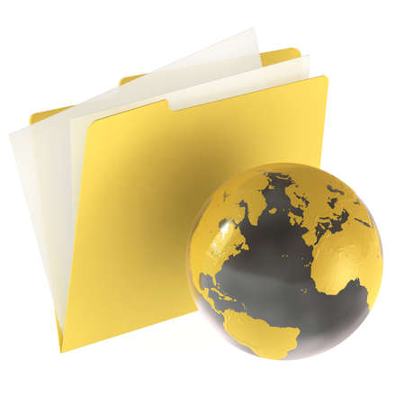 Folder icon isolated over a white background. This is a 3D rendered picture. Stock Photo - 860740