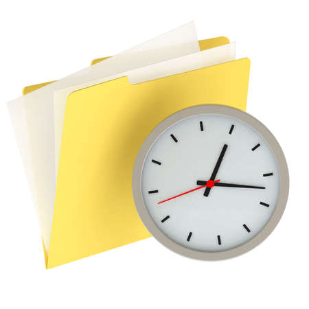 Folder icon with clock isolated over a white background. This is a 3D rendered picture. photo
