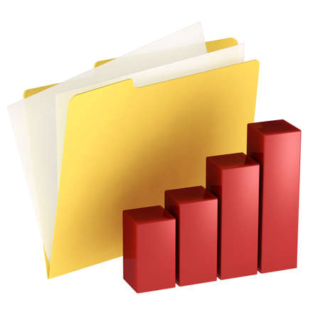 Folder icon with histogram isolated over a white background. This is a 3D rendered picture.