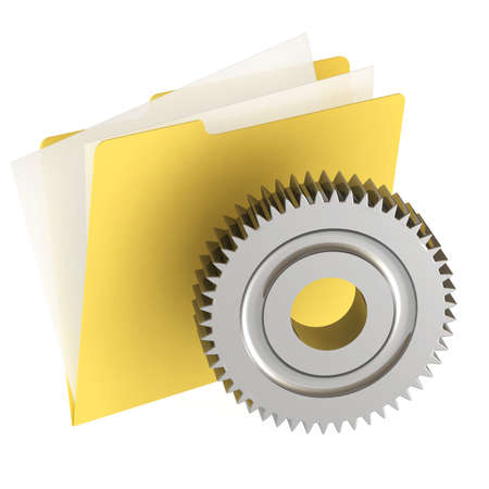 moving site: Folder icon isolated over a white background. This is a 3D rendered picture. Stock Photo