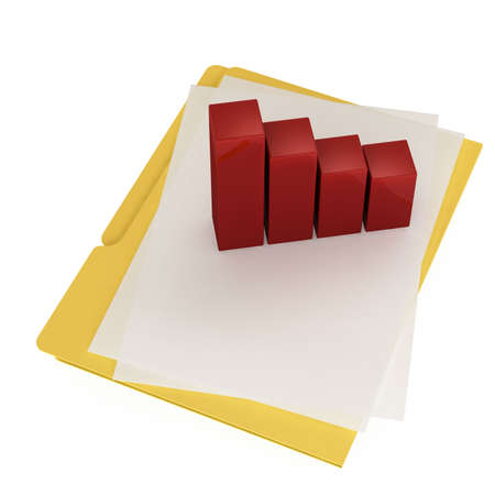 buisiness: Folder & document icon isolated over a white background. This is a 3D rendered picture.