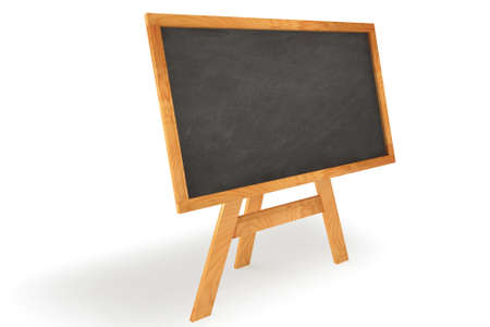 Blank chalkboard with wooden frame isolated over a white background. This is a 3D rendered picture.