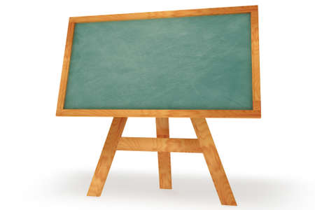 Blank chalkboard with wooden frame isolated over a white background. This is a 3D rendered picture. photo
