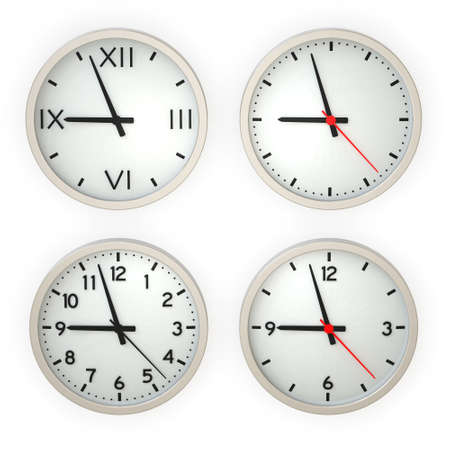 Four wall clocks isolated over a white background. This is a 3D rendered picture. photo