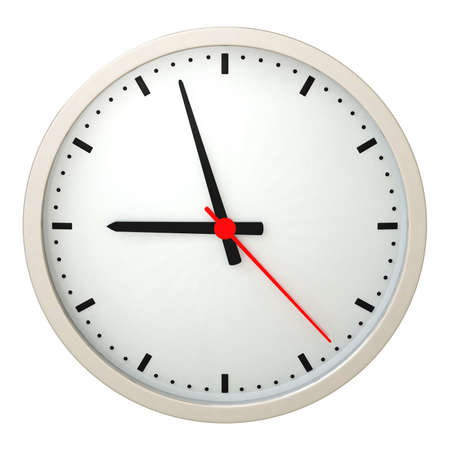 hand beats: Wall clock isolated over a white background. This is a 3D rendered picture.