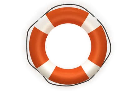 Life buoy isolated over a white background. This is a 3D rendered picture. Stock Photo