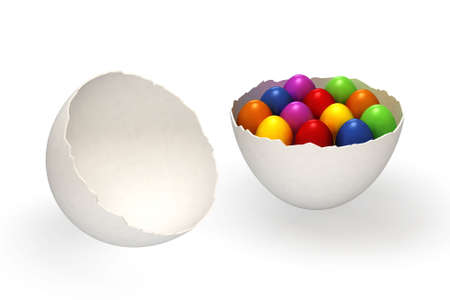 Colorful easter eggs in an eggs shell isolated over a white background. This is a 3D rendered picture. photo