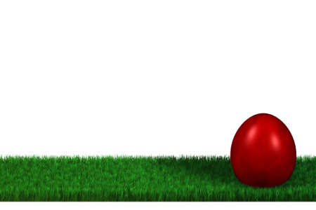 Colorful easter eggs in a meadow isolated over a white background. This is a 3D rendered picture. photo