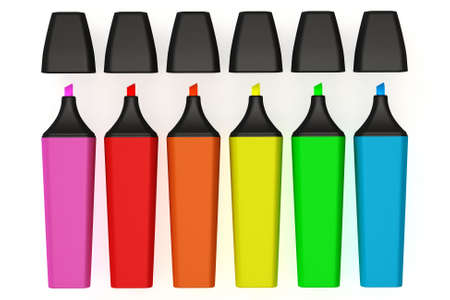 emphasize: Colorful highlighter pens isolated over a white background. This is a 3D rendered picture.