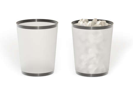 useless: Empty and full trash isolated over a white background. This is a 3D rendered picture. Stock Photo