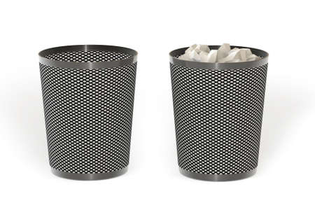 Empty and full trash isolated over a white background. This is a 3D rendered picture. Stock Photo