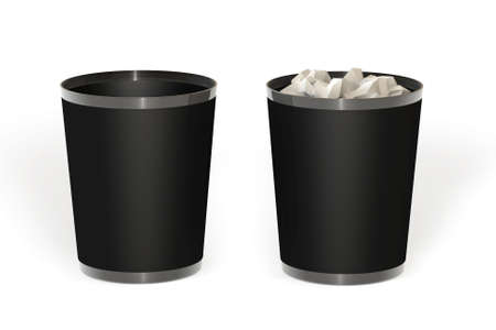 Empty and full trash isolated over a white background. This is a 3D rendered picture. Stock Photo - 860788