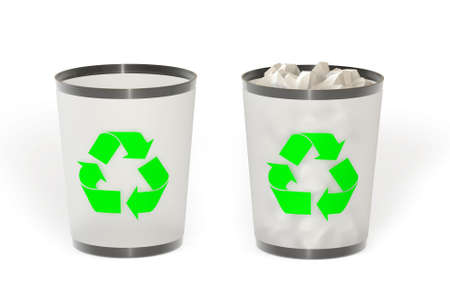 Empty and full trash isolated over a white background. This is a 3D rendered picture. Stock Photo - 860789