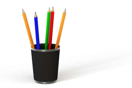 Set of colored pencils in a canister. This is a 3D rendered picture. photo