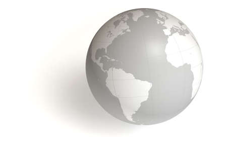 World globe isolated over a white background. This is a 3D rendered picture.