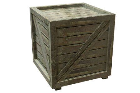 wooden crate: Wooden crate isolated over a white background. This is a 3D rendered picture.