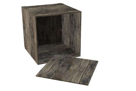 Wooden crate isolated over a white background. This is a 3D rendered picture. photo