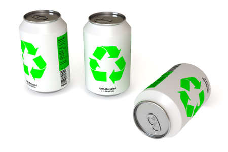 Soda cans with recycling logo isolated over a white background. This is a 3D rendered picture. Stock Photo