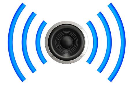 geluidsgolven: Luidspreker met geluidsgolven geïsoleerd over een witte achtergrond. Dit is een 3D-beeld gemaakt.