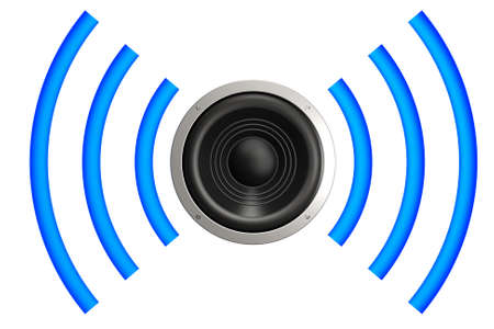 loud speaker: Speaker with sound waves isolated over a white background. This is a 3D rendered picture.