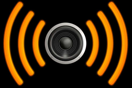 decibel: Speaker with sound waves isolated over a black background. This is a 3D rendered picture. Stock Photo