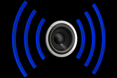 Speaker with sound waves isolated over a black background. This is a 3D rendered picture. Stock Photo - 907974