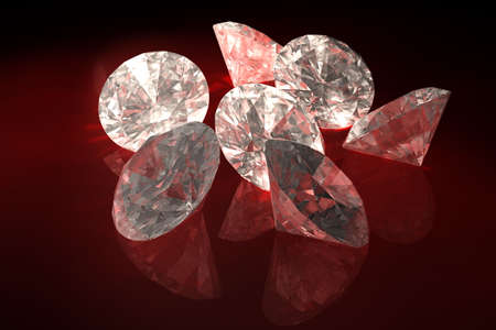 caustic: Sparkling diamonds over a black background. This is a 3D rendered picture.