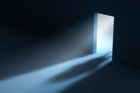Abstract doorway with visible light beam and people shadow. This is a 3D rendered picture. Stock Photo