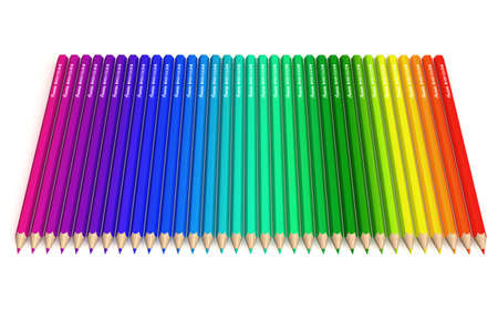 Set of aligned crayons isolated over a white bakground.All spectrum colors are presents. This is a 3D rendered picture. The brand name is fake: no risk of copyright infringement! photo