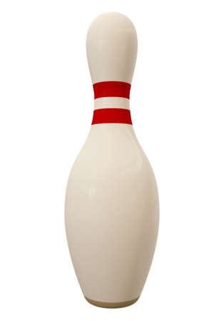 Bowling pin isolated over a white background. This is a 3D rendered picture.