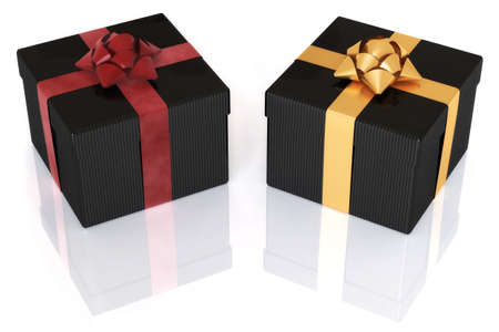 Two gift boxes isolated over a white background. photo