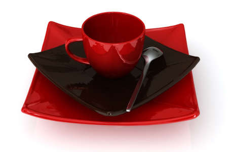 expresso: Red and dark brown empty expresso cup and saucers isolated over a white background.