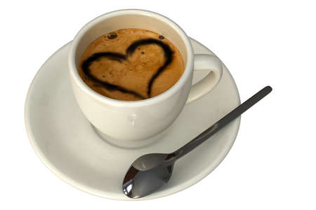 Espresso cup with heart isolated over a white background.  photo