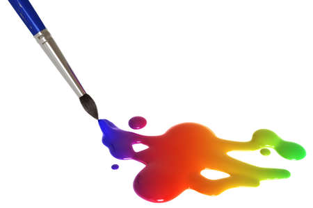 Colorful painting splatter and paint brush isolated over a white background.