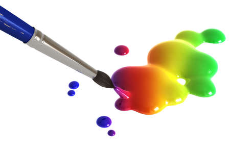 Colorful painting splatter and paint brush isolated over a white background. photo