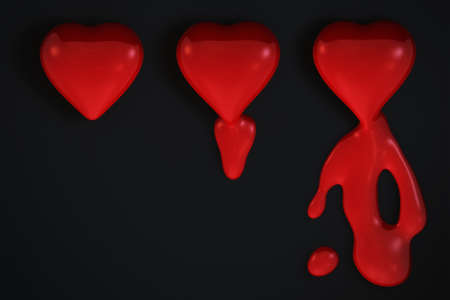 Bleeding hearts isolated over a black background. photo