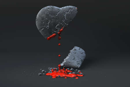 Bleeding heart of stone over a dark background. 스톡 콘텐츠
