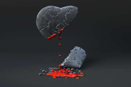 Bleeding heart of stone over a dark background. photo