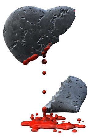 Bleeding broken heart of stone isolated over a white background. photo