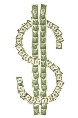aligned: Dollar bank notes isolated over a white background aligned on a $ symbol. Stock Photo