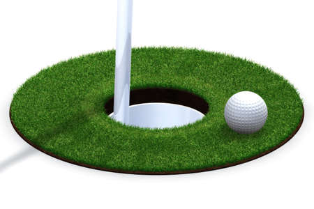 putting green: Golf ball and hole isolated over a white background. Stock Photo