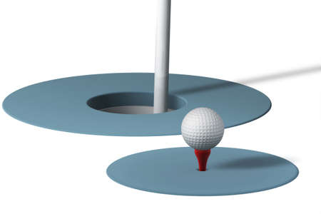 Golf ball and hole isolated over a white background. Stock Photo - 1575716