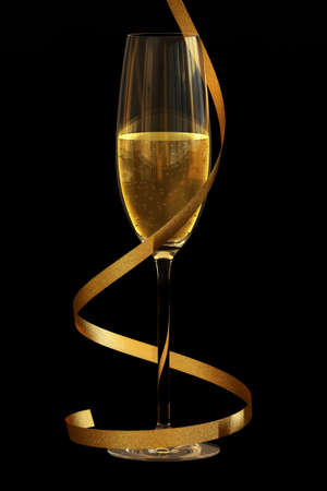 Champagne flute isolated over a black background. Stock Photo